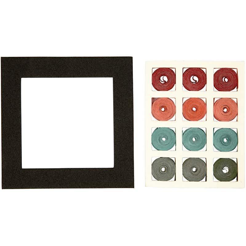 Set quilling,10x10cm,patrat,rosu/verde