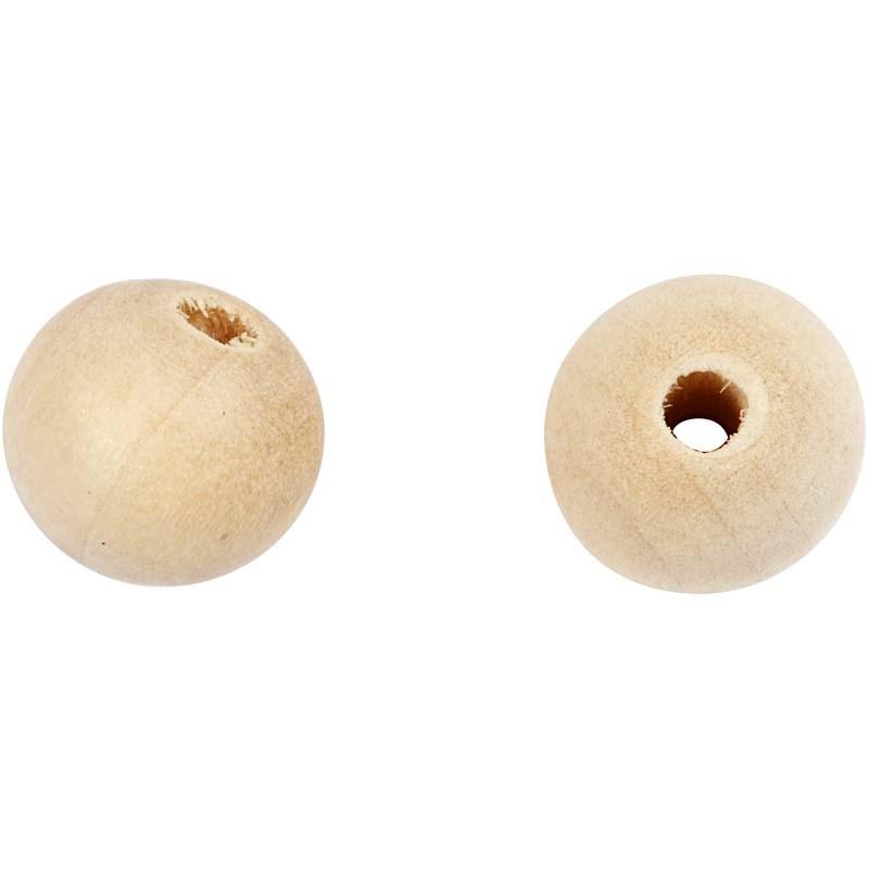 Margele lemn,10mm,rotunde,natur,25buc/s