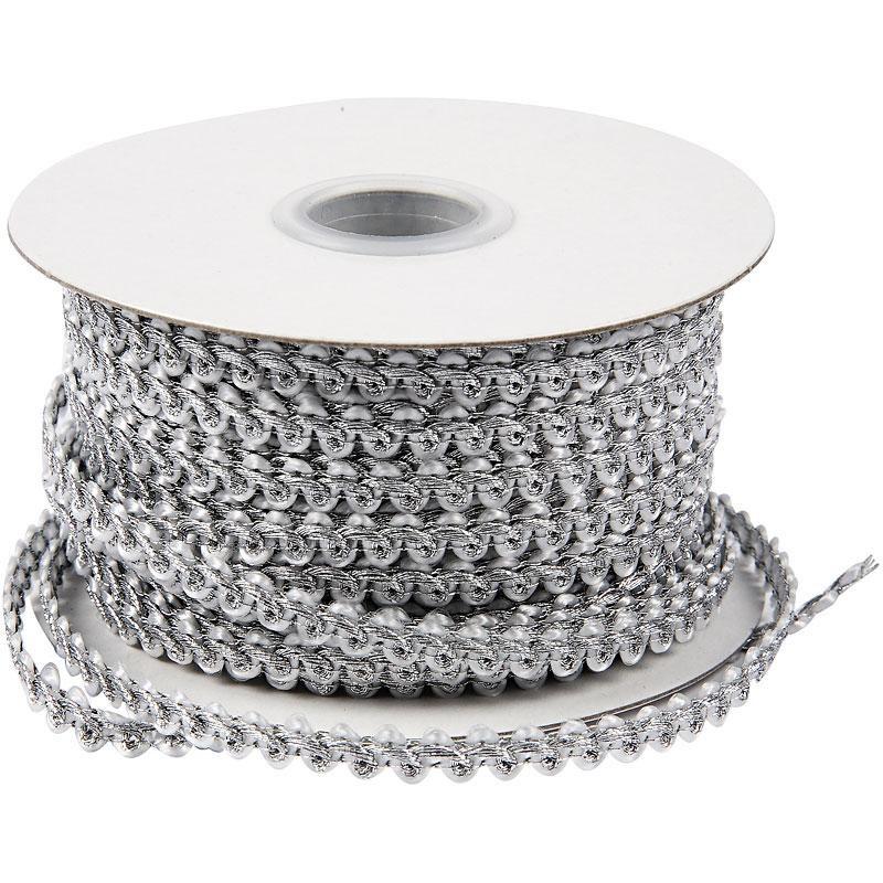 Snur impletit,0.5x2m,luciu metal,argint.