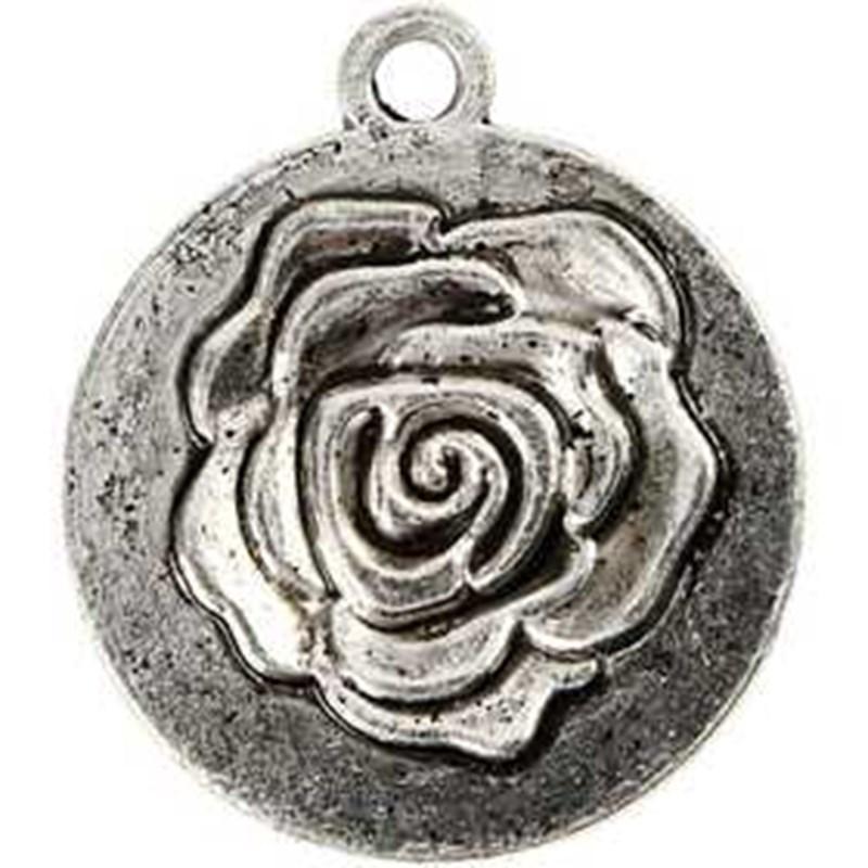 Pandantiv,trandafir,20mm,ag.antic,4buc