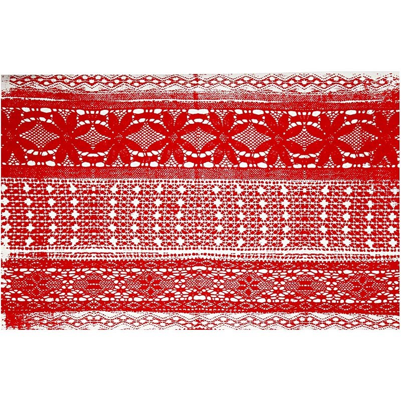 Hartie manuala 38x56,110g,rosu/alb/dantela