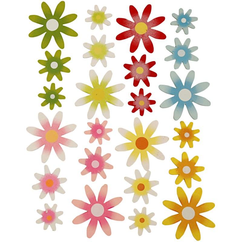 Flori autoadezive,lemn,3dimensiuni,12b/s
