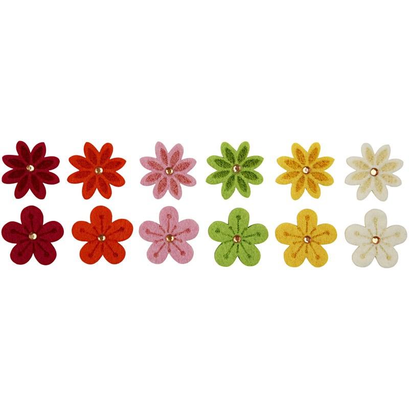 Flori fetru,30mm,2 modele,6culori,12 b/s