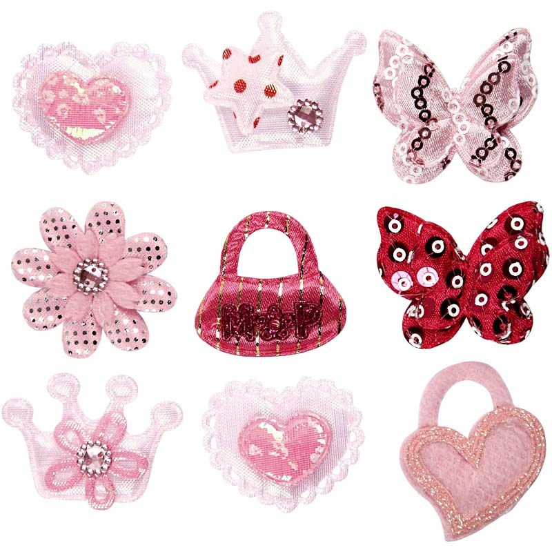 Figurine textile,diverse forme,roz,20b/s