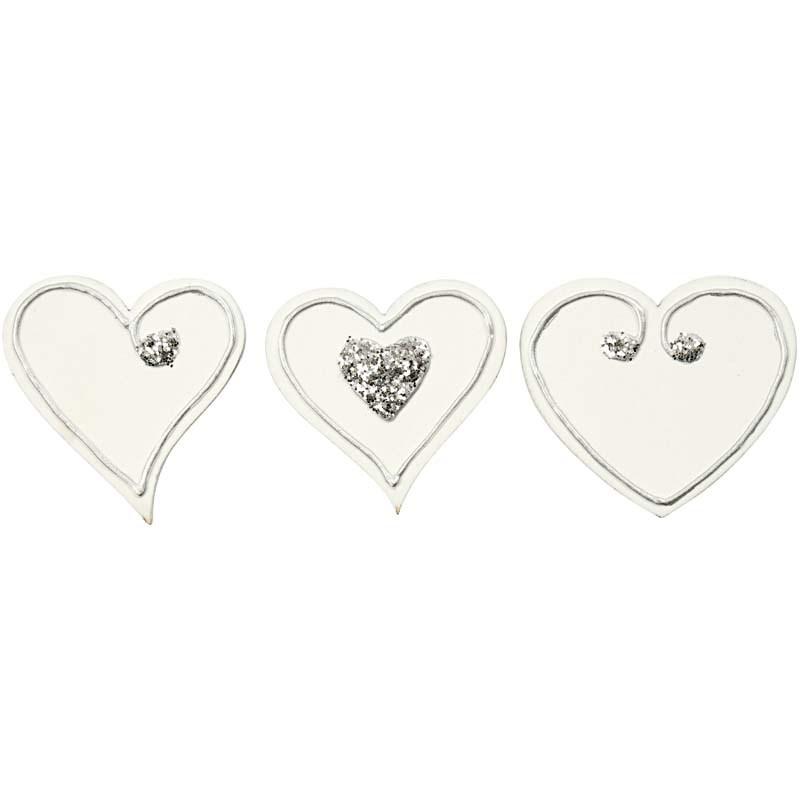 Inimi autoadezive,lemn,albe,3modele,6b/s