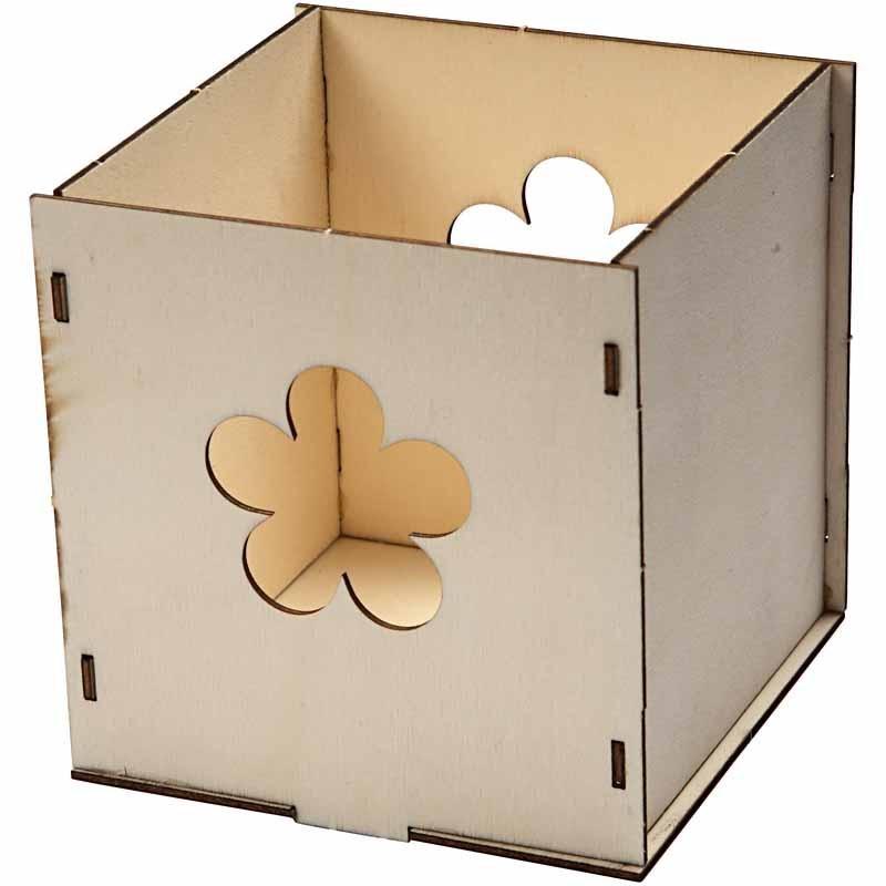 Cutie pt lumanare,lemn,9,9x9.9x9,9cm