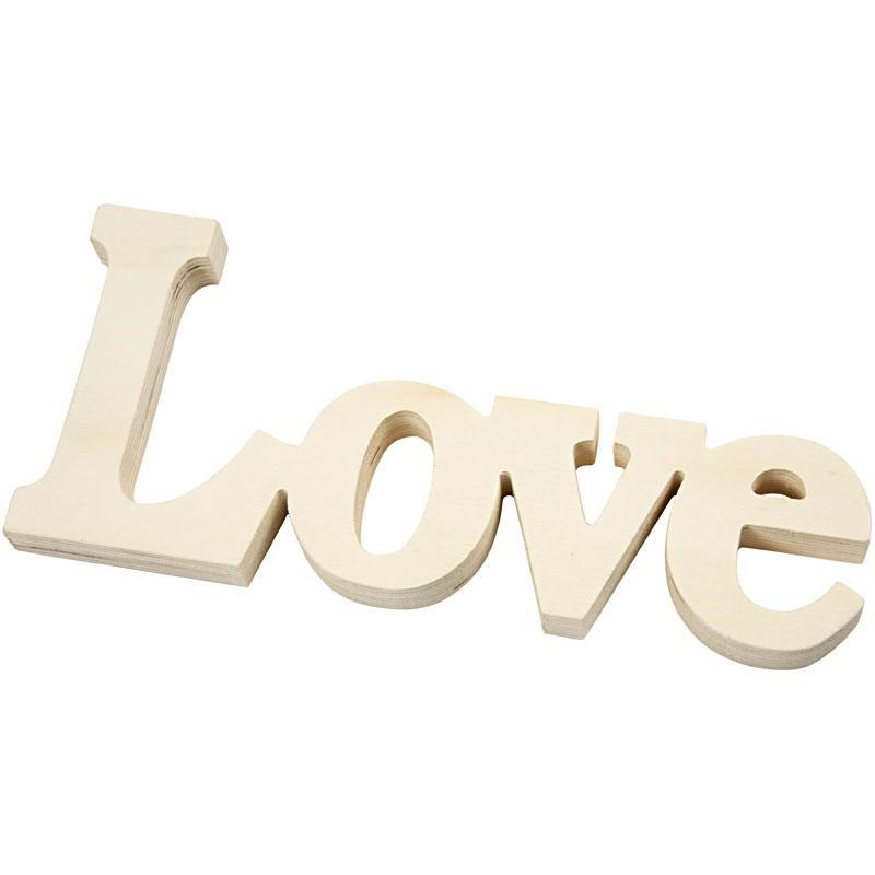 Decoratiune lemn,Love,23x10cm