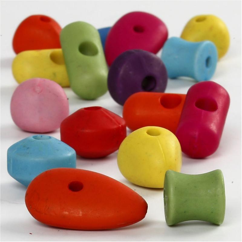 Margele plastic,10-20mm,5 forme,75 g
