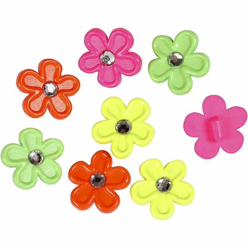 Nasturi plastic,flori,culori neon,8 b/s