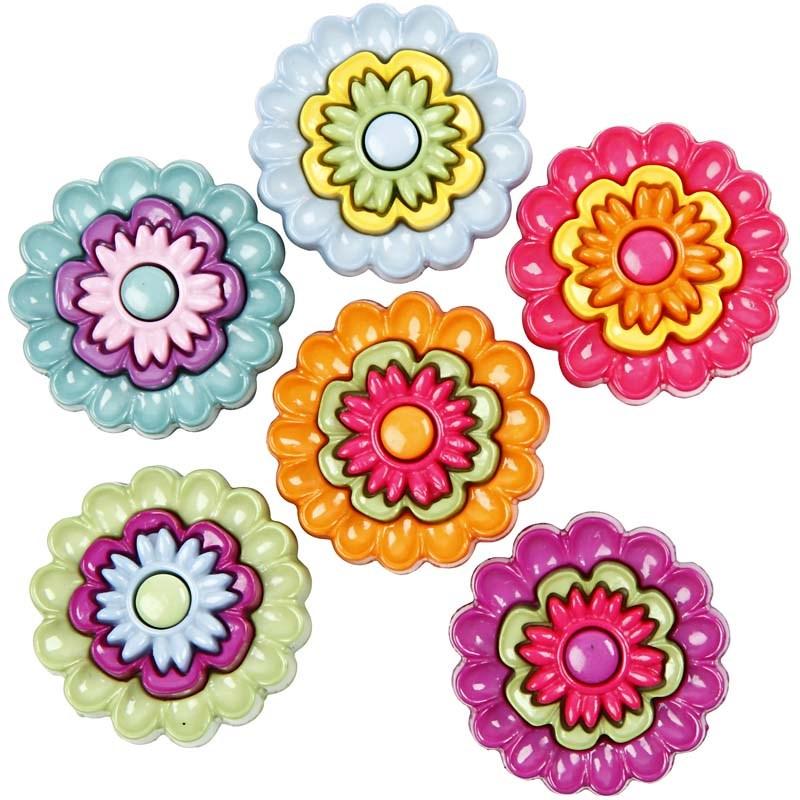 Nasturi plastic,flori multicolore,6 b/s