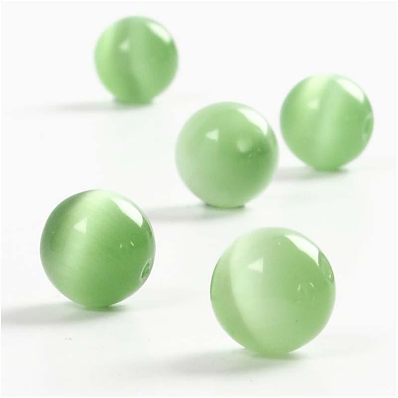 Margele sticla Ochi pisica,verde,5buc