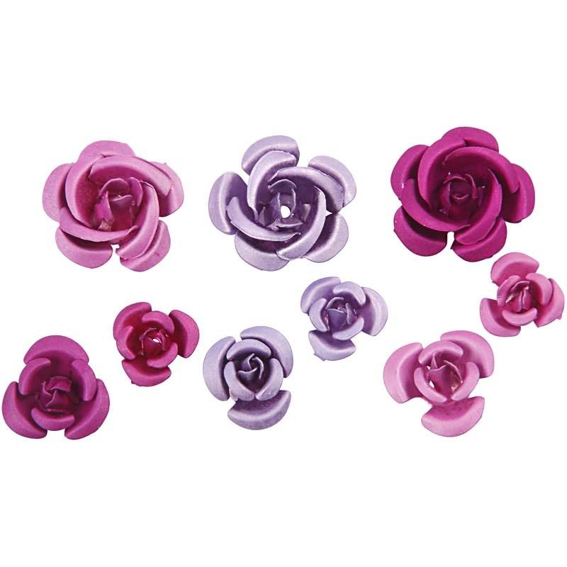 Trandafiri metal,mov/roz,27 buc/set