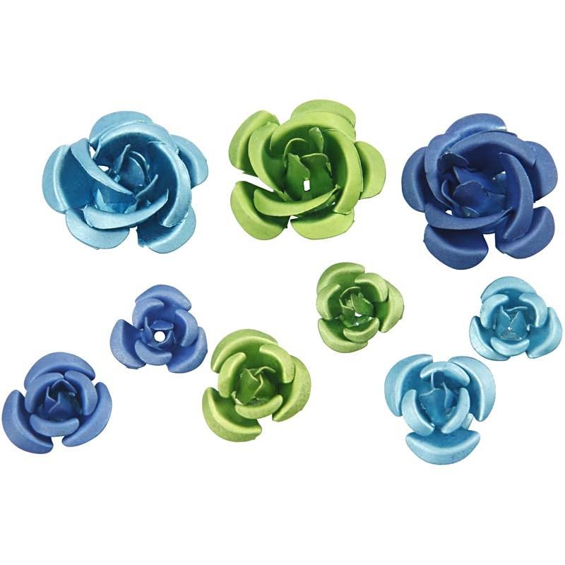 Trandafiri metal,albastru/verde,27 b/s
