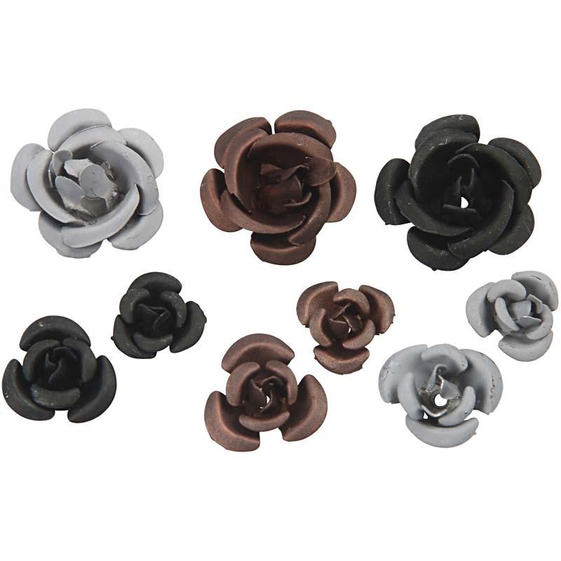 Trandafiri metal,negru/maro,27 buc/set