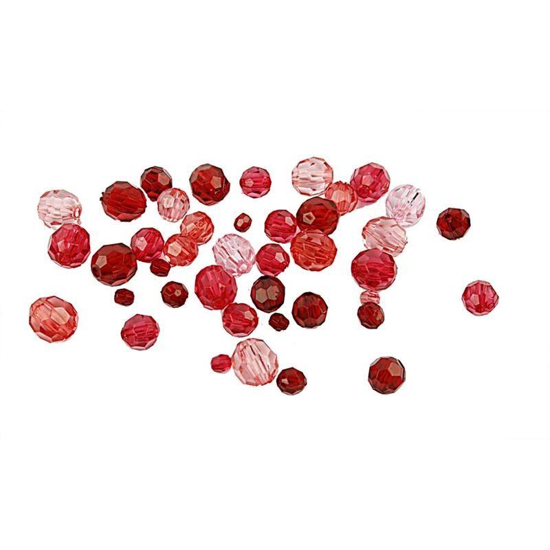 Margele plastic,4-12mm,fatetate,rosu,50g