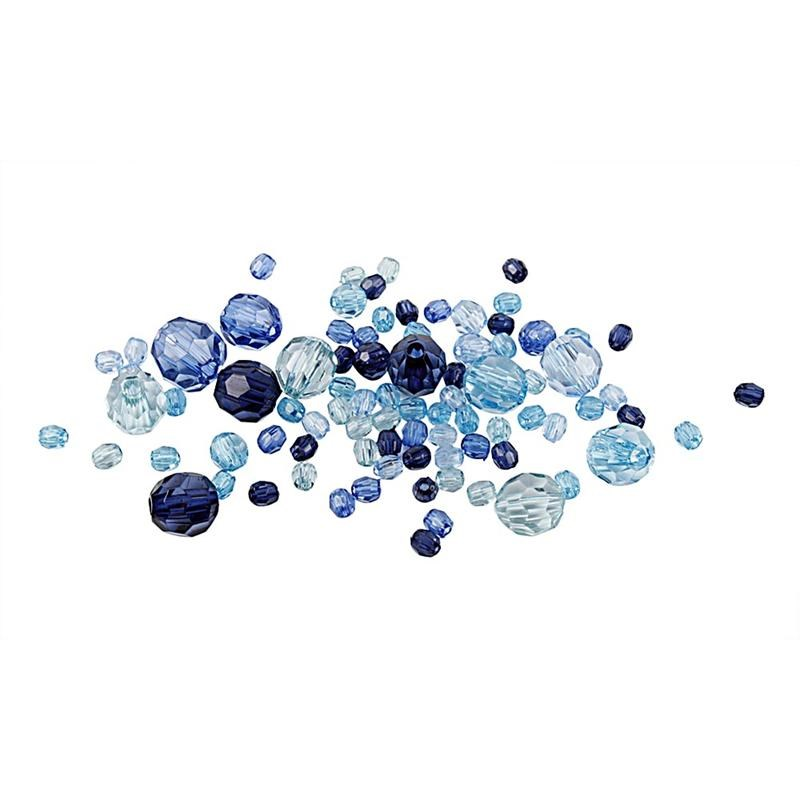 Margele plastic,4-12mm,fatetate,bleu,50g