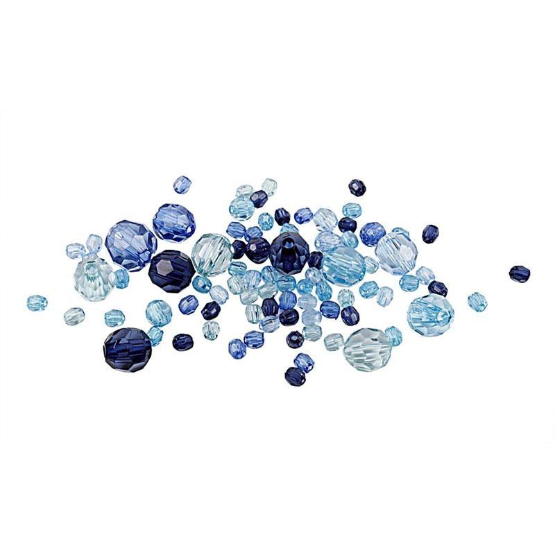 Margele plastic,4-12mm,fatetate,bleu,50g