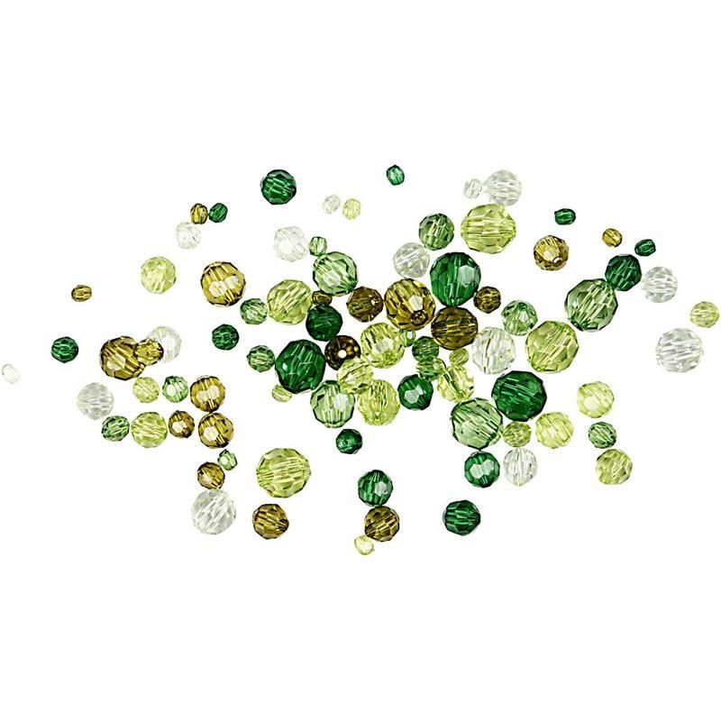 Margele plastic,4-12mm,fatetate,verde,50g