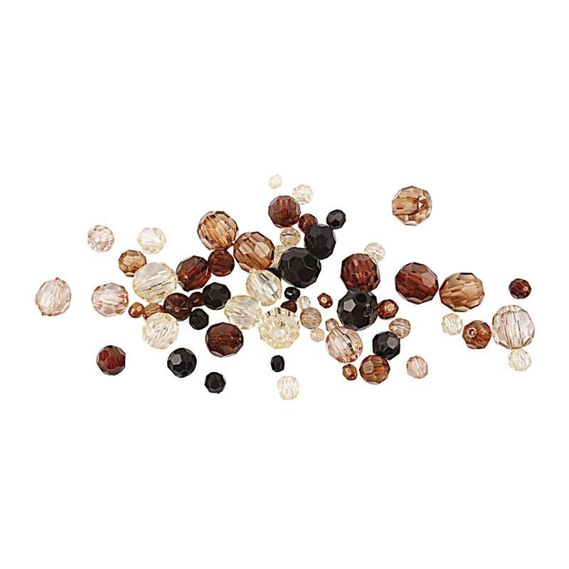 Margele plastic,4-12mm,fatetate,maro,50g