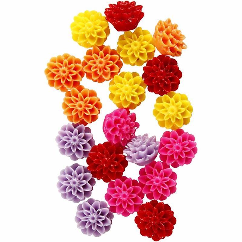 Margele rasina,15mm,flori,rosu/roz,20b/s