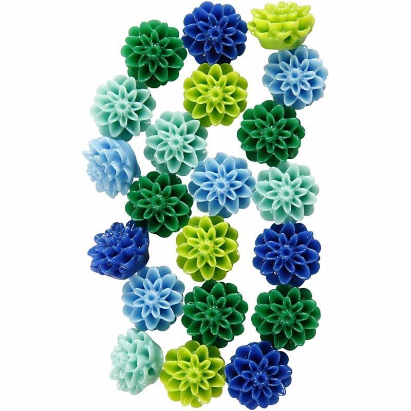 Margele rasina,15mm,flori,blue/verde,20b