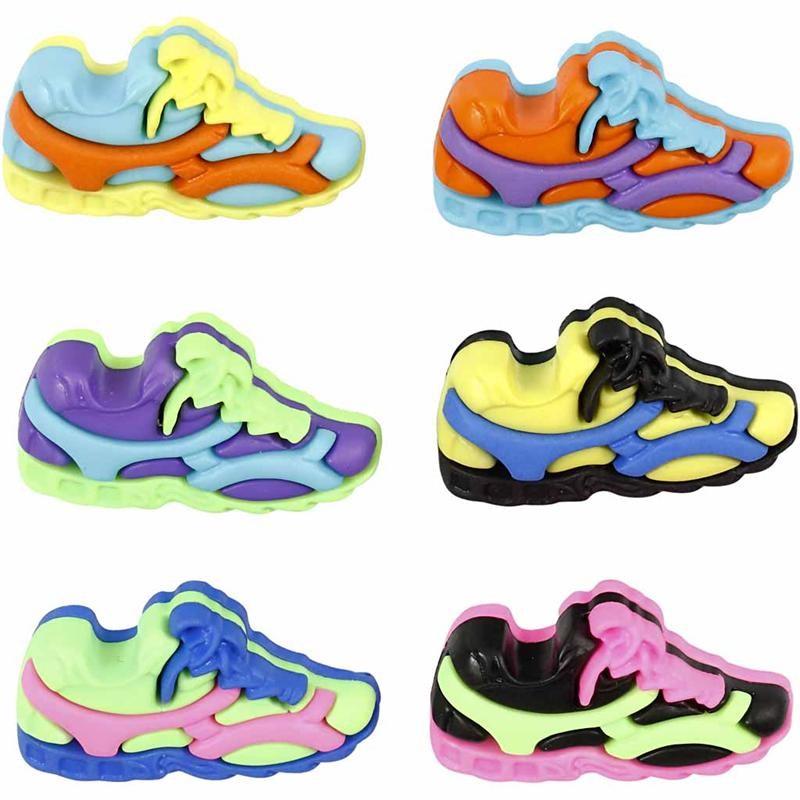 Nasturi plastic,pantofi sport,6 buc/set