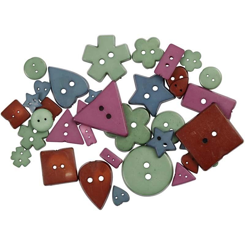 Nasturi plastic,5 forme,culori terne,37b