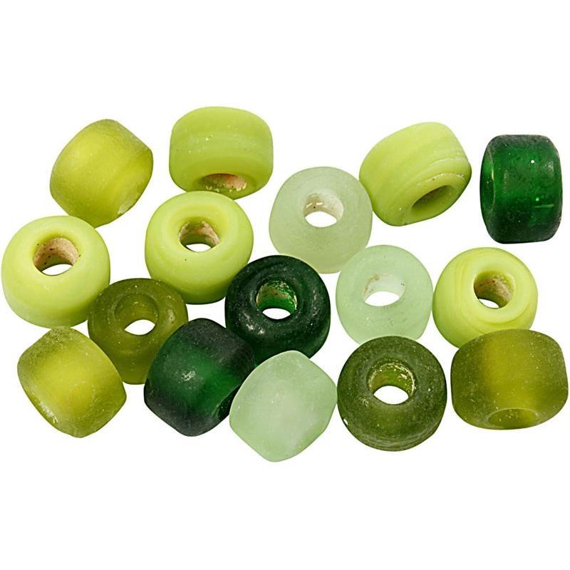 Margele sticla,8mm,tubulare,verde,75 g