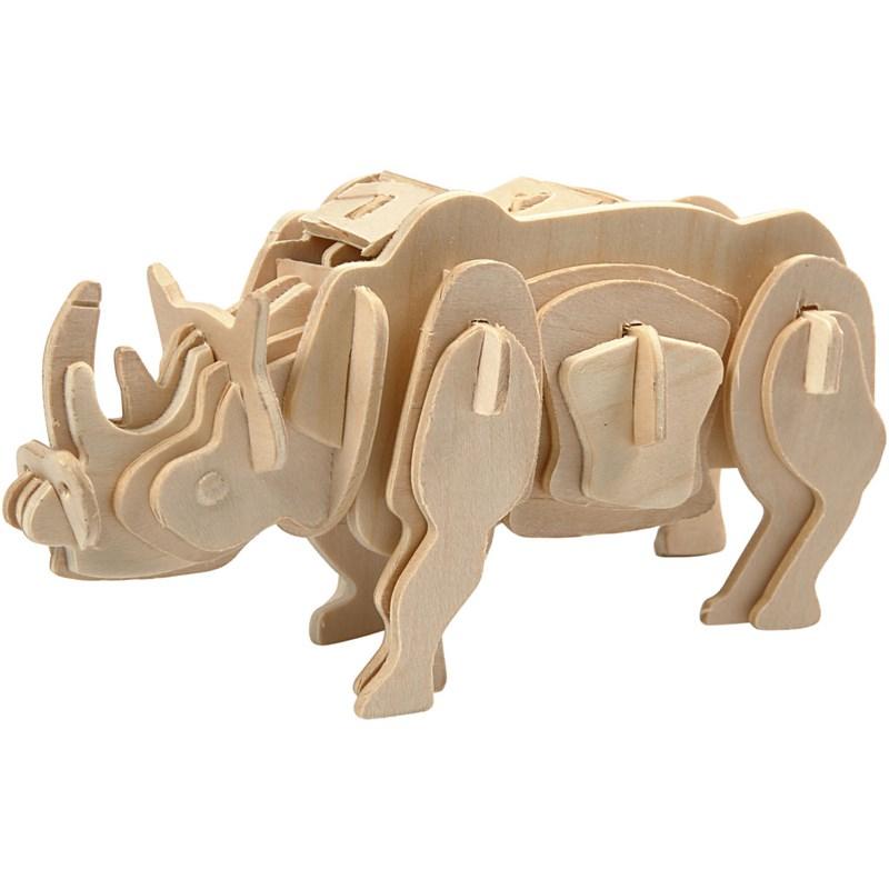 Puzzle pt decorare,lemn,18x22cm,rinocer