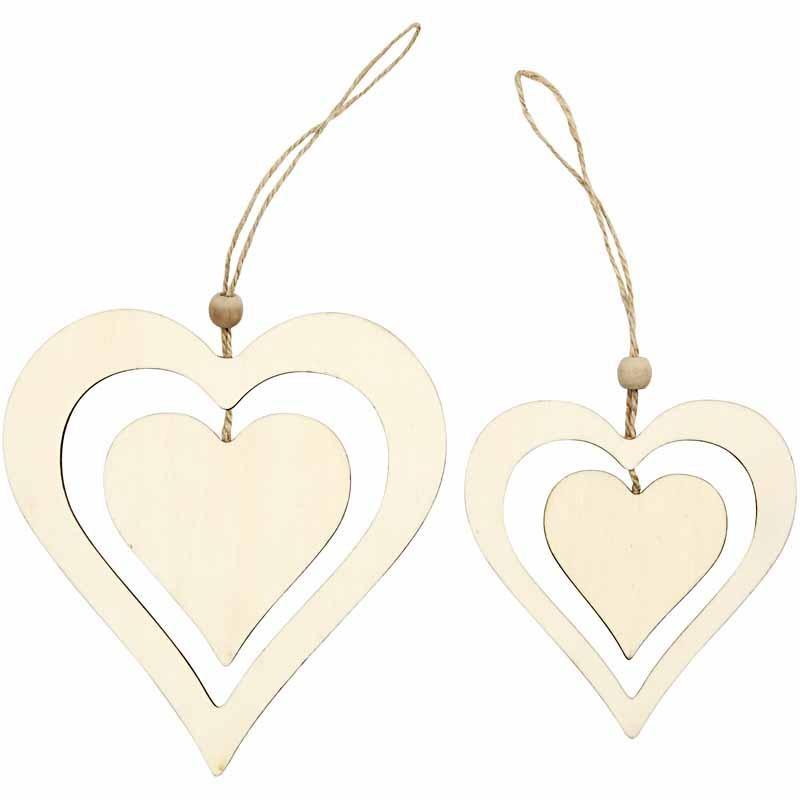Ornament inima,lemn,12/16.5,2buc