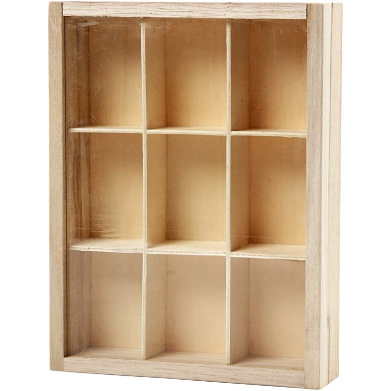Cutie cu 9 compartimente,lemn,17x13cm
