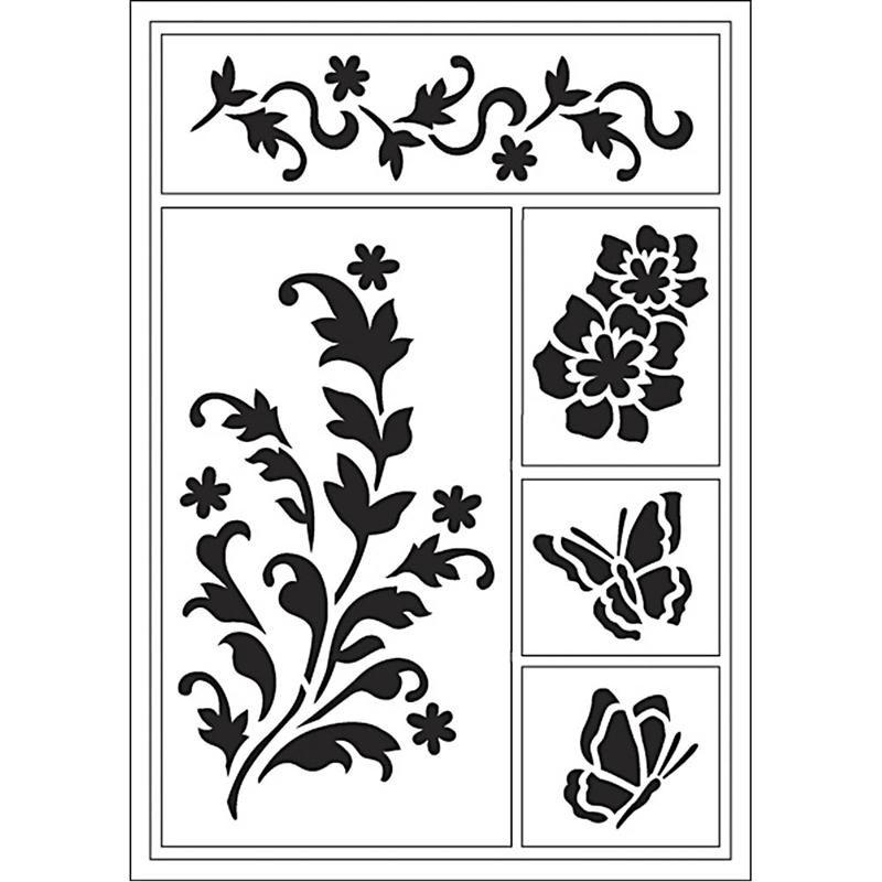 Sabloane flexibile,21x14.8cm,floare/fluture