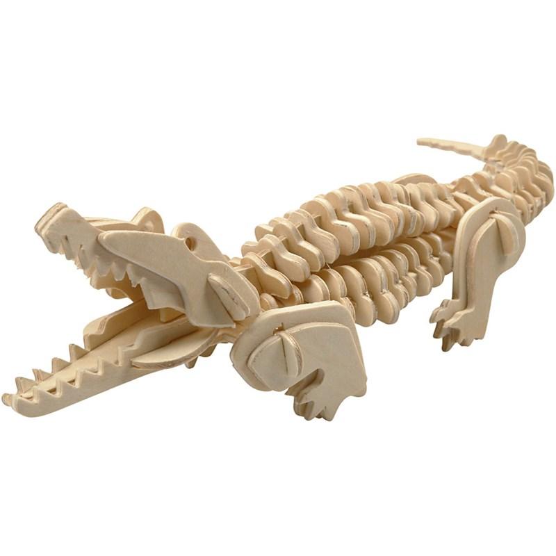 Puzzle pt decorare,lemn,18x22cm,crocodil