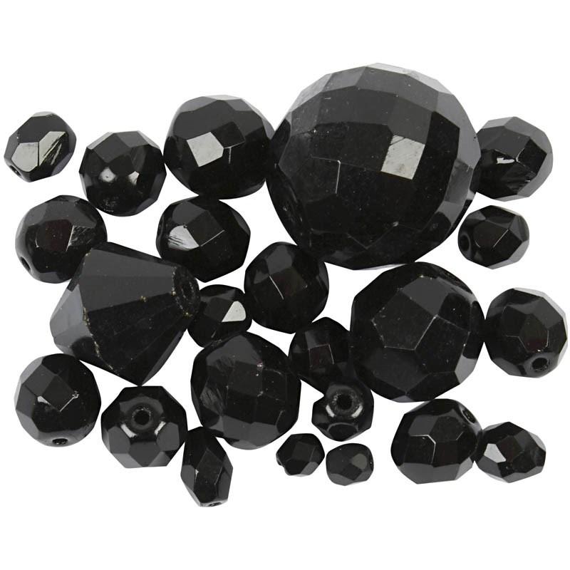 Margele sticla,4-20mm,fatetate,negru,75g