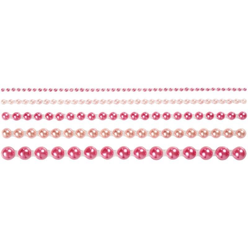 Strasuri autoadezive,perle,roz,140 buc
