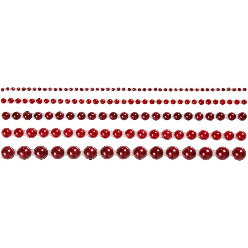 Strasuri autoadezive,perle,rosu,140 buc