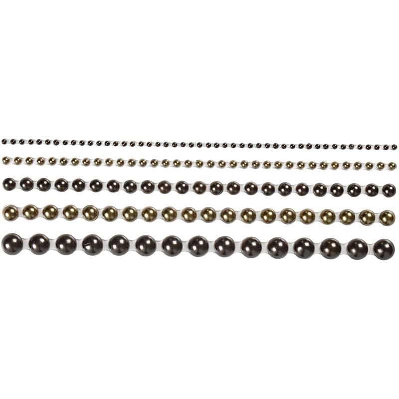 Strasuri autoadezive,perle,maro,140 buc