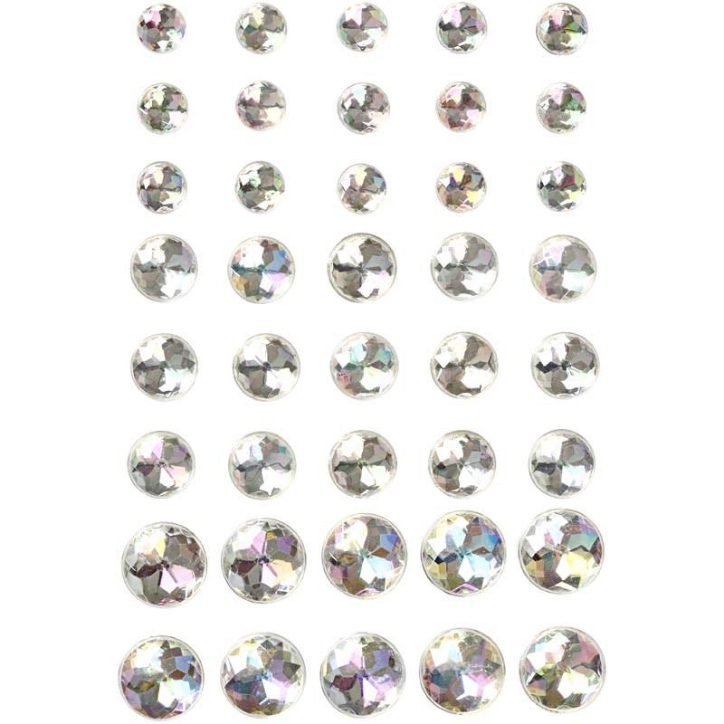 Pietre autoadezive,rotunde,alb,40 buc
