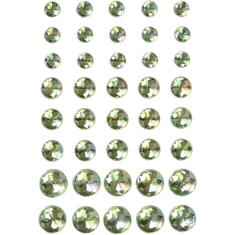 Pietre autoadezive,rotunde,verde,40 buc