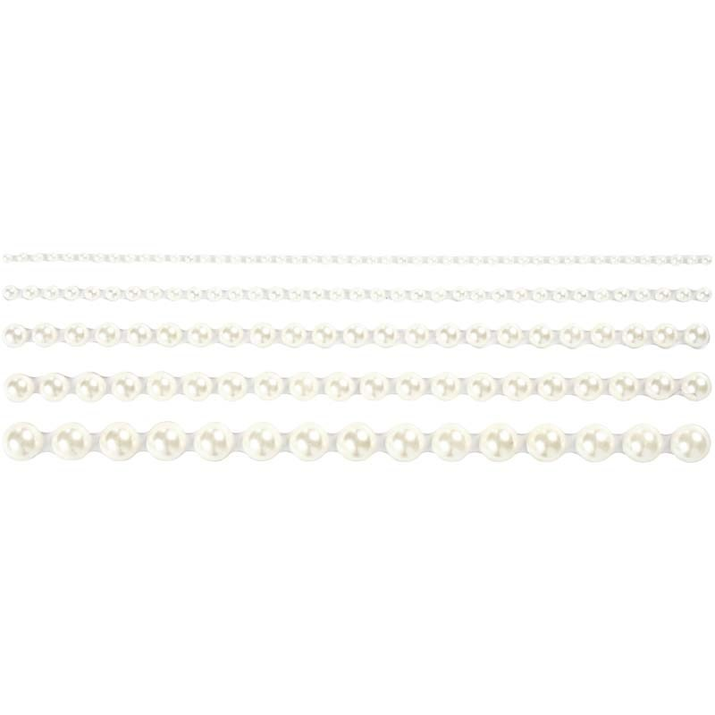 Strasuri autoadezive,perle,alb,140 buc