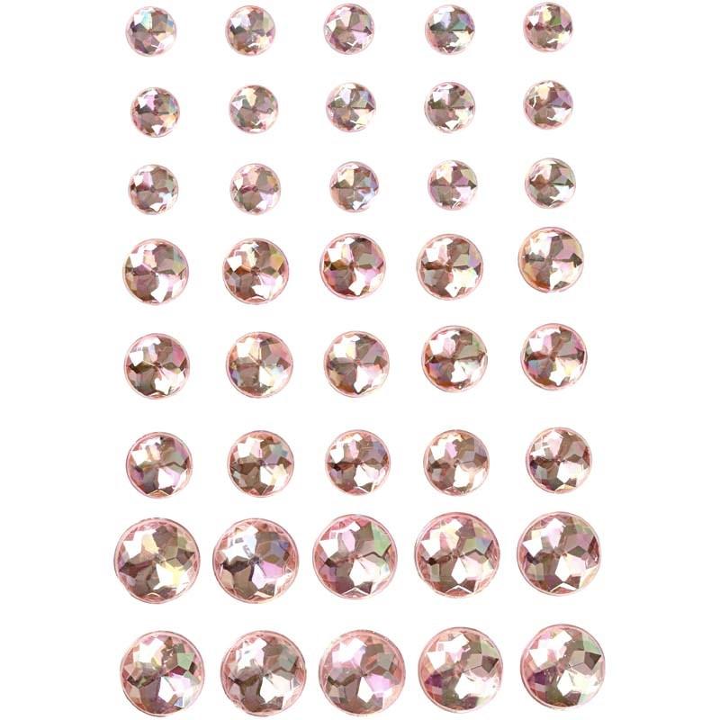 Pietre autoadezive,rotunde,roz,40 buc