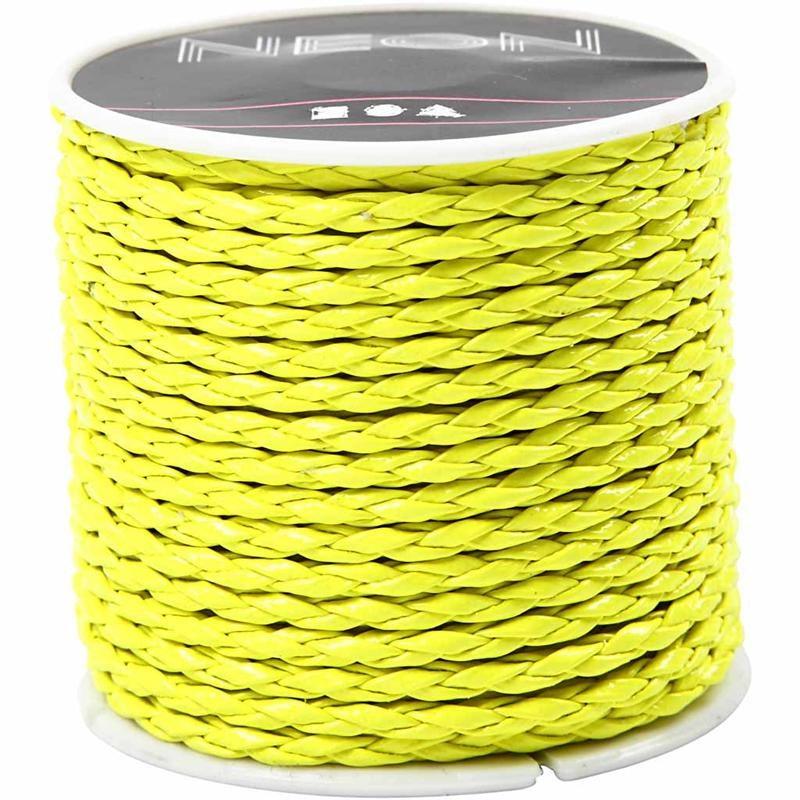 Cordon impletit,3mmx6m,galben neon