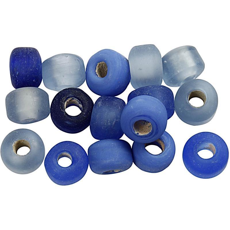 Margele sticla,8mm,tubulare,albastru,75g