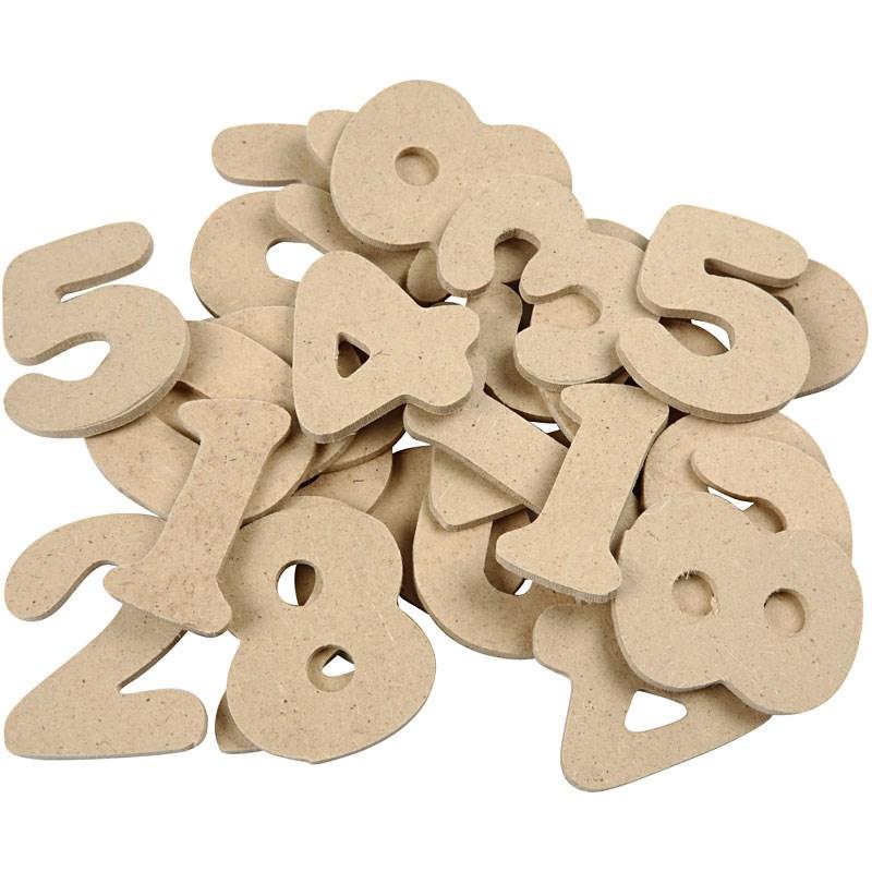 Numere MDF asorate,4cm,30buc