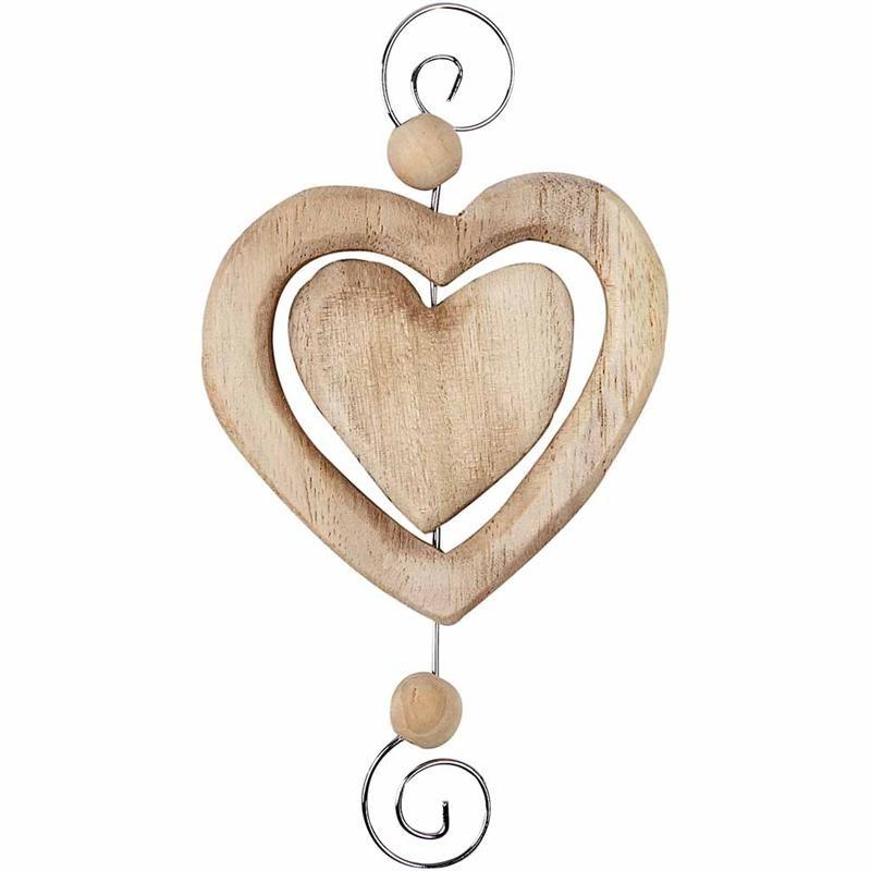 Inima decorativa,lemn,7x12cm,4buc