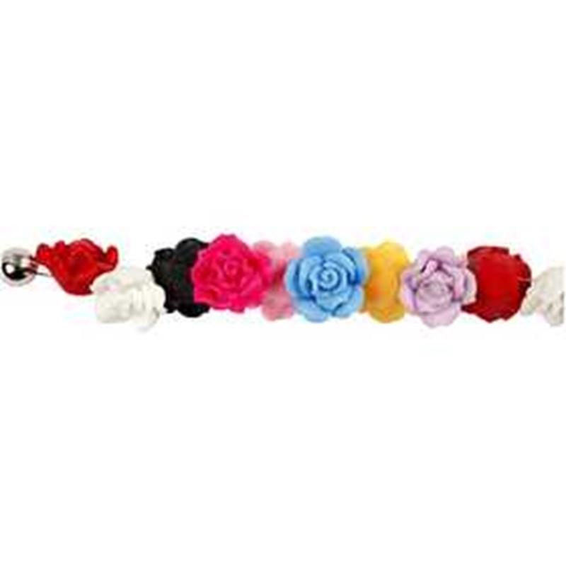 Margele ceramica,16mm,trandafiri,16 b/s