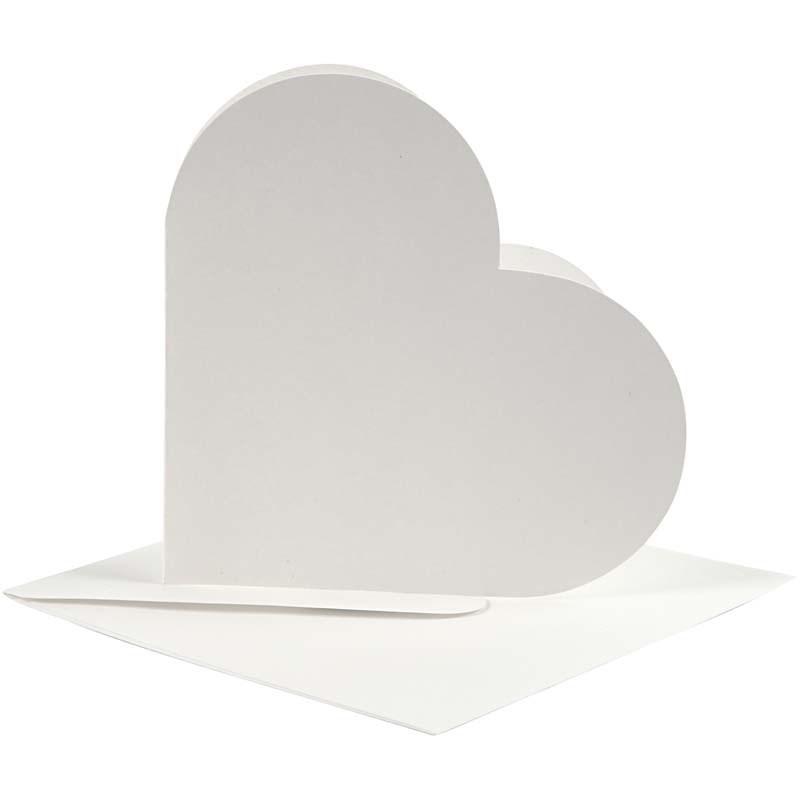 Felicitare inima,plic,12.5x12.5cm,alb,10b
