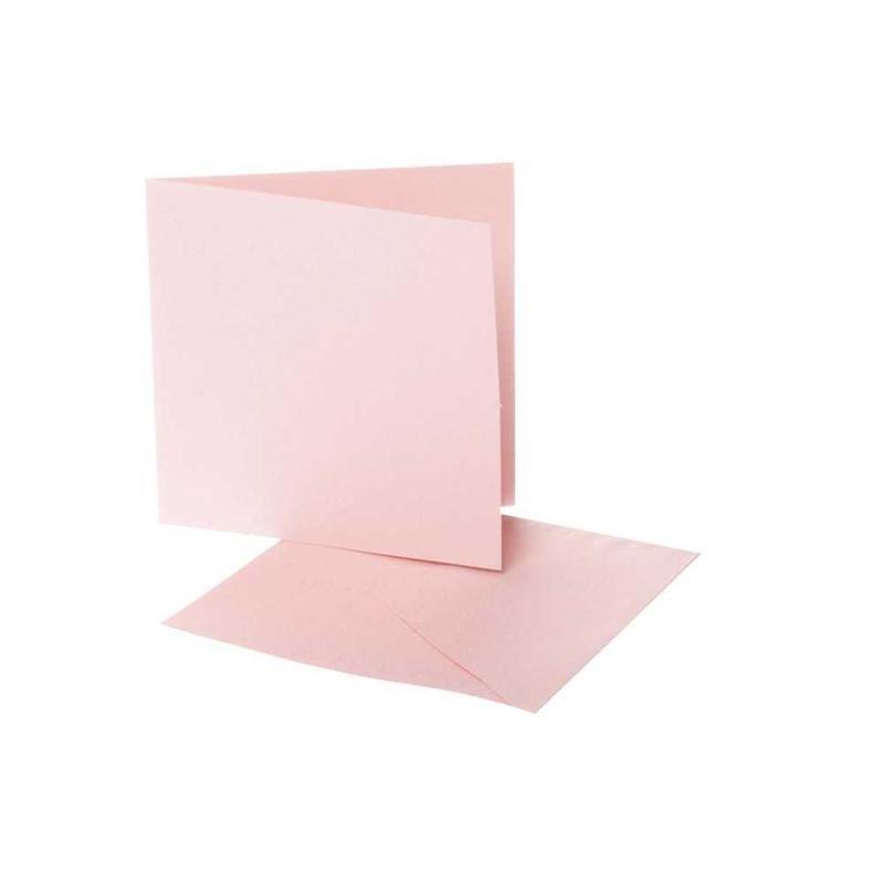 Felicitare,plic,12.5x12.5cm,roz,10buc