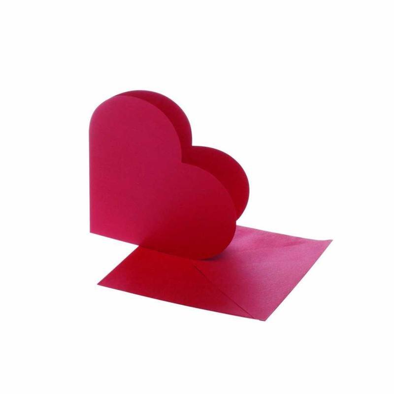 Felicitare inima,plic,12.5x12.5cm,rosu,10b