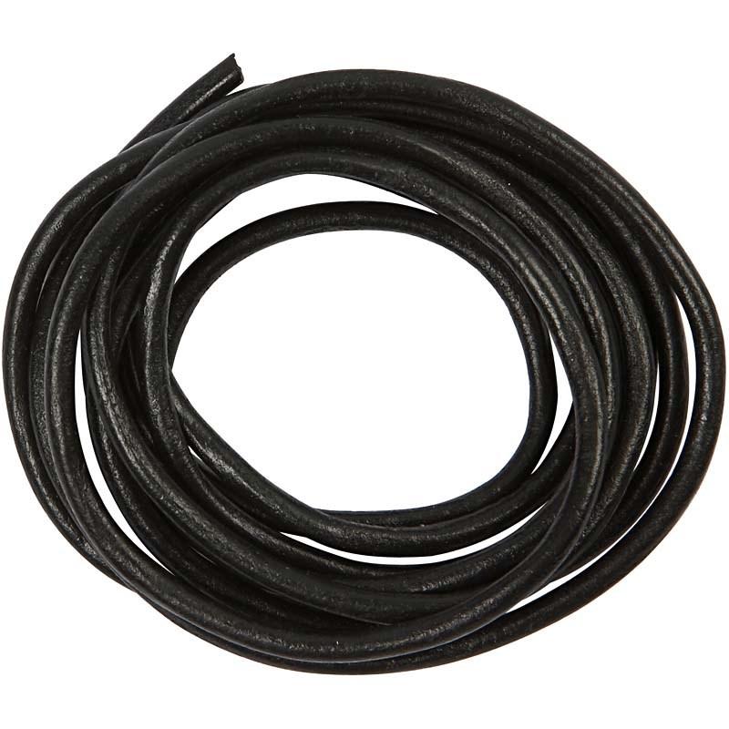 Snur piele,4mmx2m,negru